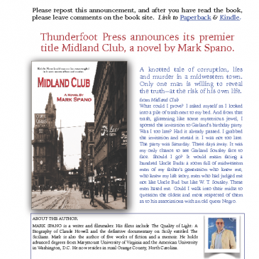 Midland Club, a novel by Mark Spano